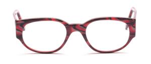 Dominante Damenbrille aus Rot-Schwarz marmoriertem Acetat mit breiten Bügeln