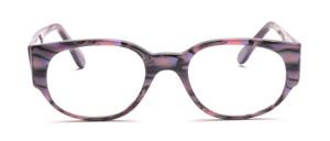 Dominante Damenbrille aus Grau-Rosa marmoriertem Acetat mit breiten Bügeln