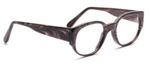 Dominante Damenbrille aus Braun marmoriertem Acetat mit breiten Bügeln