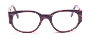 Dominante Damenbrille aus Lila-Pink marmoriertem Acetat mit breiten Bügeln