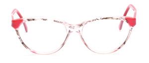 Attraktive Cat Eye Brille aus den 80er Jahren mit einem transparenten, teilweise Schwarz gemustertem, Mittelteil