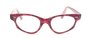 Cat eye frame made of purple patterned acetate with golden glitter and pretty decorative rivets