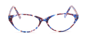 Damenbrille aus Acetat in Blau - Lila auf Transparent gemustert in leichter Cat Eye Form