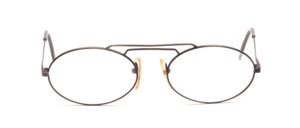 Oval men's frame in antique silver with double bridge