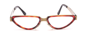 Striking women's frame in antique gold with a wide frame and an inner cell ring in dark Havana