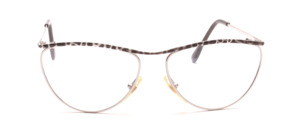 Silver metal frame for ladies with a gray patterned upper edge and straps