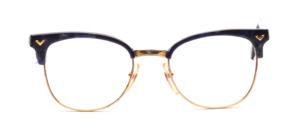 80er Jahre Kombifassng in Gold Metall mit einem Blau gemusterten Acetat Oberrand und Bügeln aus Acetat