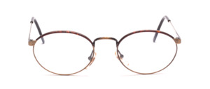 Oval metal frame in antique gold with dark brown Windsor cover at the top of the glass rim