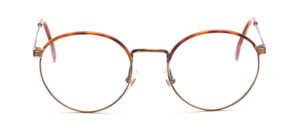 Metal frame in Pantoform in antique gold with a Windsorrand in brown patterned on the upper rim of the frame