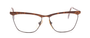 Metal frame for ladies in black with a brown patterned top bar and straps