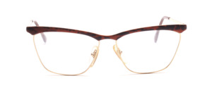 Gold frame for ladies in gold with a brown-black patterned top bar and straps