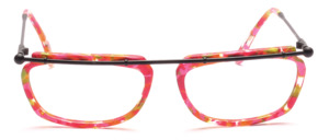 Black metal frame with colorful acetate ring in pink patterned