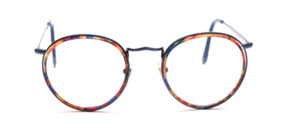 Panto Frame in blue metallic with a colorful patterned inner cell ring