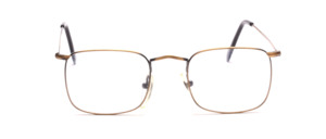 Lightweight and thin-edged metal frame in antique gold with nose bridge and ironing on top