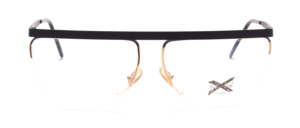Nylor Balkenbrille mit einem Graphitgrauen Oberrand und Bügeln mit goldenem Akzent am Fassungsrand