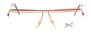 Nylor frame in gold with dark red painted upper edge