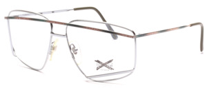 Exclusive men's frame in silver with brown-green painted front bar and ironing