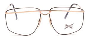 Exclusive men's frame in gold and black with red accents on the front