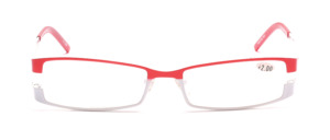 Ready-made glasses made of metal in red and white with matching fabric case