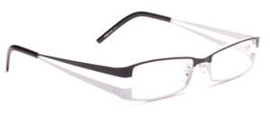 Ready-made glasses made of metal in black and white with matching fabric case