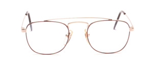 Men's frame with double bridge in gold with brown glass rim