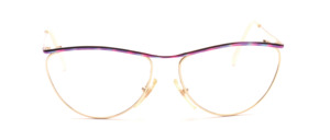 Golden metal frame for ladies with a colorful patterned upper edge and straps