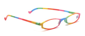 Funny reading glasses made of plastic in rainbow design with matching case