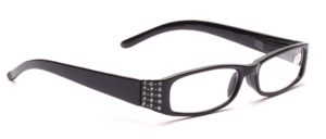 Black finished glasses with rhinestone decor and flexible hinge