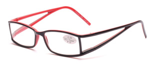 Black-red finished glasses in modern design with matching fabric case
