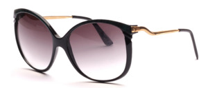 Elegante, etwas größere Damen Sonnenbrille mit hoch-angesetzten, schön geschwungenen Bügeln