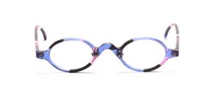 Kleine ovale Acetatfassung mit Nasenpads in Transparent Blau mit Rosa, Schwarz und Weiß