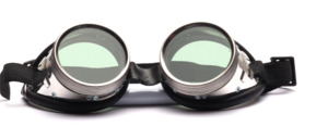 "Round ""techno-glasses"" or original welding goggles with black imitation leather edging"