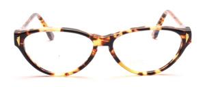 80er Jahre Cat Eye Damenbrille in Braun gemustert mit goldenen Ziernieten