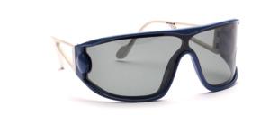 80er Jahre Panorama Sportbrille in Blau mit weißen bügeln