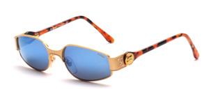 Edle, schöne Metall Sonnenbrille mit havanna farbigen Acetat Bügel mit einem kleinem goldenen Boxer Logo