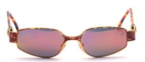 Edle Metall Design Sonnenbrille in Gold und Braun meliert