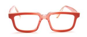 Ausgefallene 80er Jahre Brille aus geriffeltem Acetat in Orange