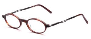 Kleine ovale Acetatbrille in dunklem Havanna mit schwarzen Metallbügeln