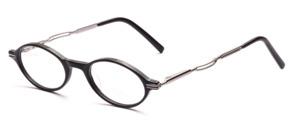Kleine ovale Acetatbrille in Schwarz mit silbernen Metallbügeln