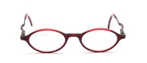 Kleine ovale Acetatbrille in Dunkelrot  mit metallic roten Metallbügeln