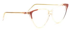 Oversize Vintage Cat Eye Brille aus den 80er Jahren in Transparent mit Strassbesatz auf den rosafarbenen Seiten und an den Bügeln