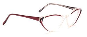 80er Jahre Cat Eye Brille in Transparent mit Dekor in Rot und Schwarz vorne