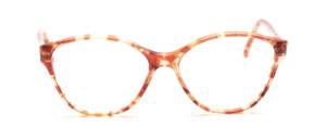 80er Jahre Butterfly Brille für Damen in transparent Braun und Gold gemustert