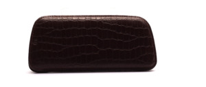 Fine leather case from the 50s in brown with crocodile structure