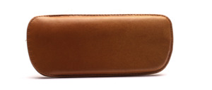 Smooth leather case in brown mottled from the 50s, lined with felt inside