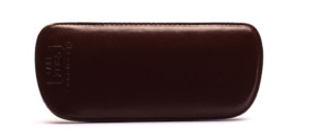 Fine sliding leather cover in brown lined with felt