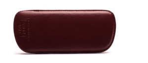 Fine sliding leather cover in dark red with felt lining