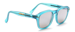 Matt blue and green Kappa sunglasses in classic sporty shape with gray, silver mirrored lenses