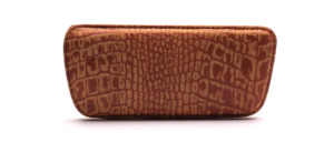 Fine leather case with crocodile pattern from the 50s in cognac colors, lined with felt