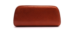 Small leather case from the 50s, with finely textured surface, in cognac colors